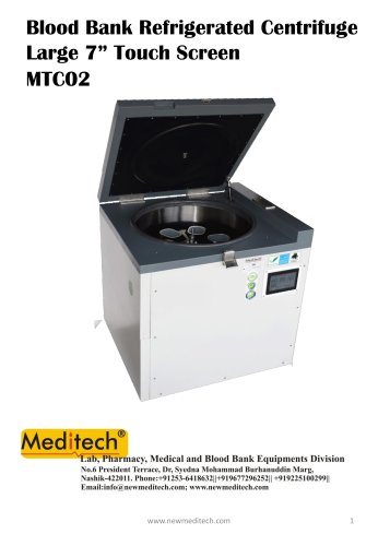 Blood Bank Refrigerated Centrifuge 6 Bags Large