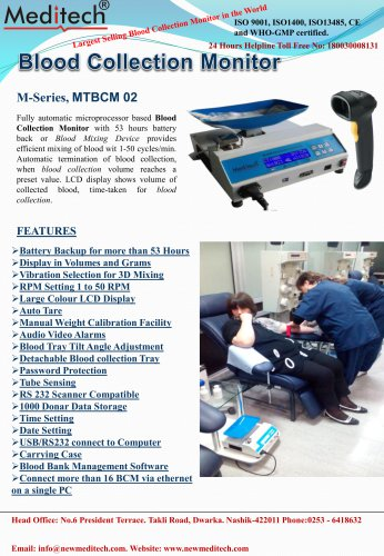 catalogue blood collection monitor MTBCM02