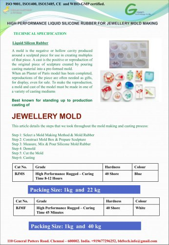 High Performance Liquid Silicone Resin for Jewellery Mold Making