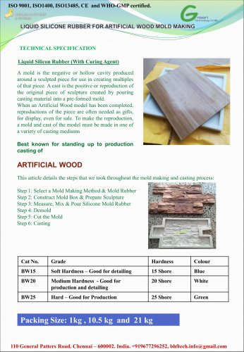 Liquid Silicone Resin for Artificial Wood Mold Making