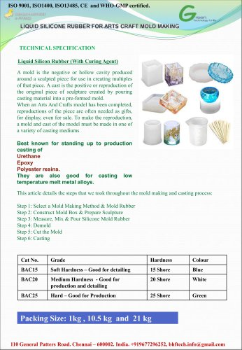 Liquid Silicone Resin for Arts Craft Mold Making