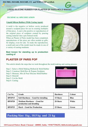 Liquid Silicone Resin for POP Mold Making