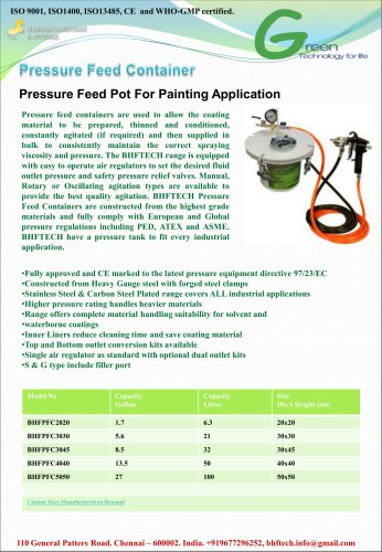 Pressure Feed Container For Painting Application