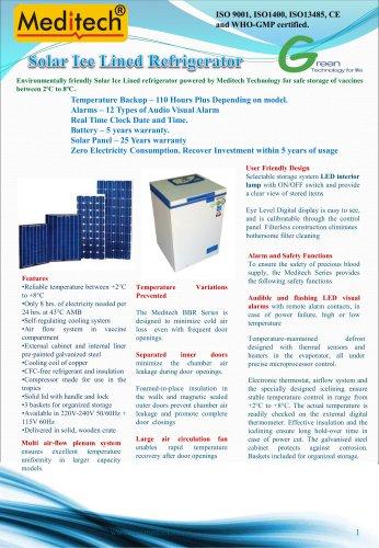 solar ice lined refrigerator