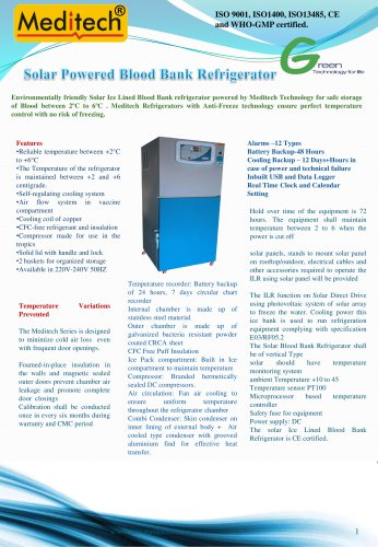 Solar Powered Blood Bank Refrigerator