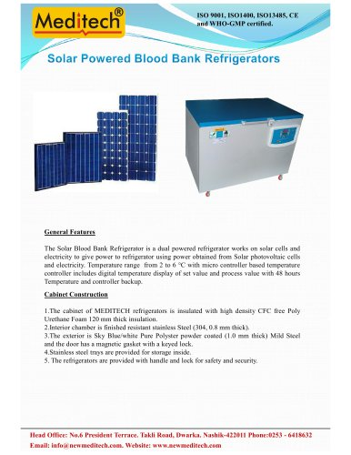 Solar Powered Blood Bank Refrigerators
