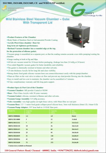 stainless steel Vacuum Chamber Cube