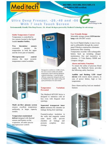 Ultra Low Deep Freezer -86 with SCADA and RFID
