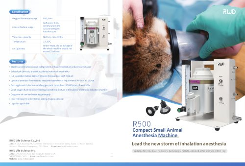 Introduction To R500 Compact Small Animal Anesthesia Machine