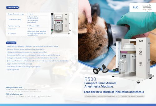 RWD R500 Mice and Rat Anesthesia machine