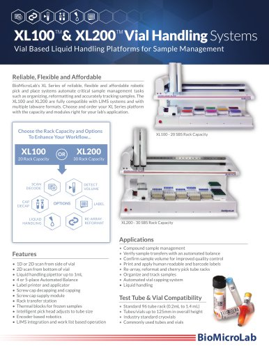 XL100 & XL200 Vial Handling Systems