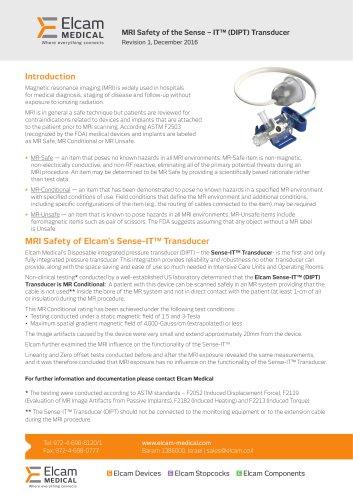 MRI Safety of the Sense – IT™ (DIPT) Transducer