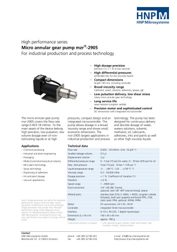 Micro annular gear pump mzr-2905