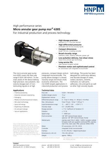 Micro annular gear pump mzr-6305