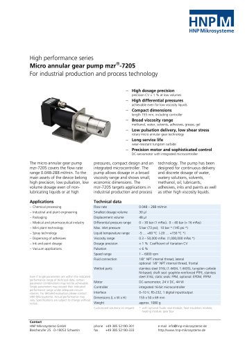Micro annular gear pump mzr-7205
