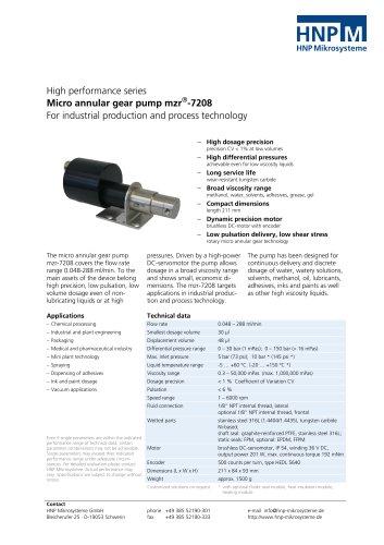 Micro annular gear pump mzr-7208