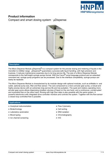 Product information Compact and smart dosing system