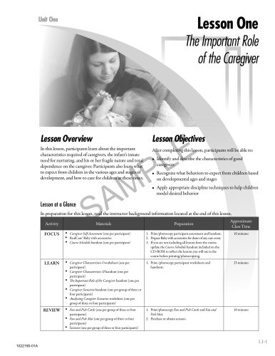 curriculum sample basic infant care