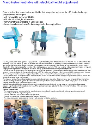 Mayo instrument table with electrical height adjustment and integrated Hepa filter system for protection of instruments