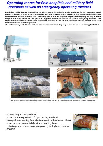 Operating rooms for field hospitals and military field hospitals