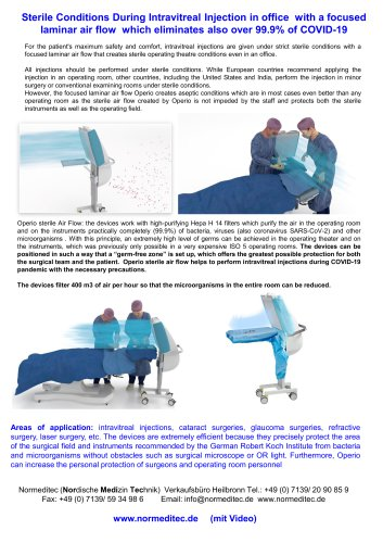 Sterile conditions for intravitreal injections office and operating theatre