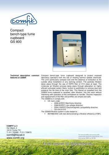 Compact bench-type fume cupboard GS 800 Economy