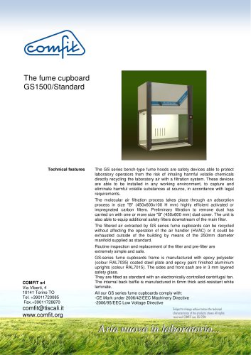 The fume cupboard GS1500 standard