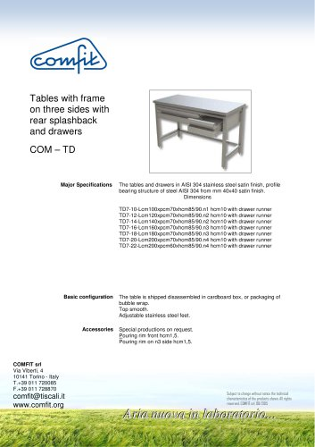 Tables with frame on three sides with rear splashback and drawers Download Details Preview