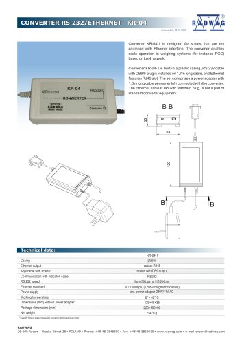 CONVERTER RS 232/ETHERNET KR-04