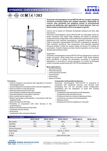 DYNAMIC CHECKWEIGHERS DWT/HL/HP