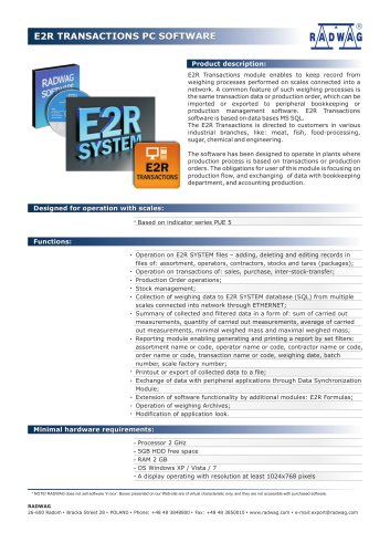 E2R TRANSACTIONS PC SOFTWARE