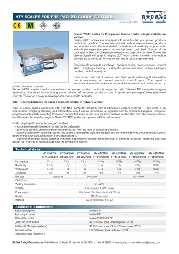 HTY SCALES FOR PRE-PACKED GOODS CONTROL HTY SCALES FOR PRE-PACKED GOODS CONTROL