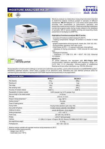 MOISTURE ANALYZER MA 3Y
