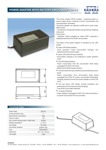 POWER ADAPTER WITH BATTERY AND CHARGER ZR-02