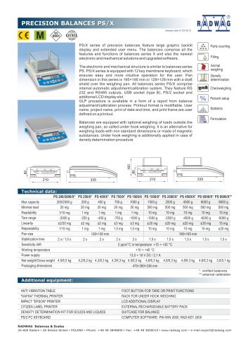 PRECISION BALANCES PS/X - RADWAG Balances & Scales - PDF
