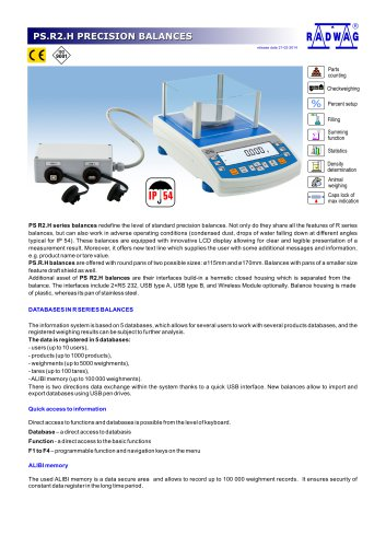 PS.R2.H PRECISION BALANCES
