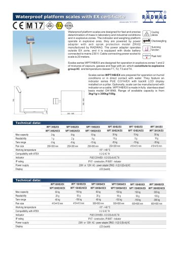 Waterproof platform scales with EX certificate