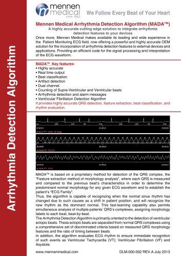 Mennen Medical Arrhythmia Detection Algorithm (MADA)