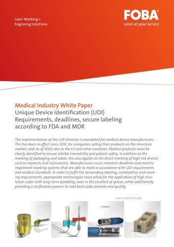 White Paper UDI Marking on Medical Devices