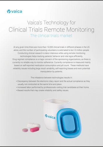 Vaica technologie  For Clinical Trials remote monitoring