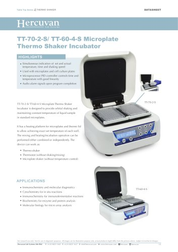 TT-70-2-S/ TT-60-4-S Microplate Thermo Shaker Incubator