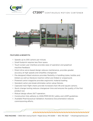 CT200™ CONTINUOUS MOTION CARTONER