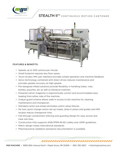 STEALTH II™ CONTINUOUS MOTION CARTONER