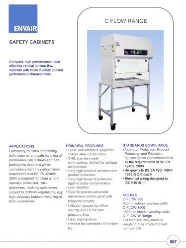 C-Flow vertical unidirectional (laminar) flow cabinets