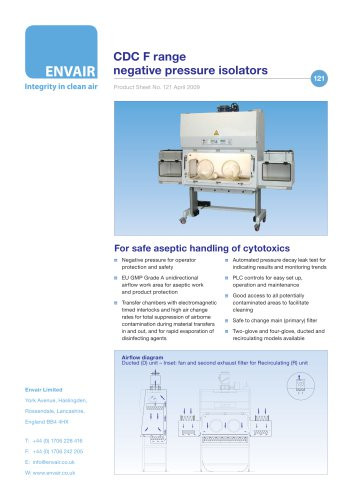CDC F cytotoxic dispensing isolators