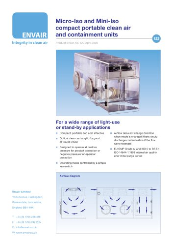 Micro-Iso and Mini-Iso compact portable clean air  and containment units