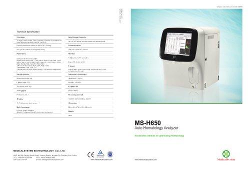 MS-H650 Auto Hematology Analyzer