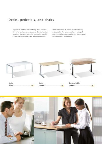 Desks, pedestals, and chairs
