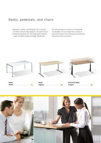 Desks, pedestals, and chairs