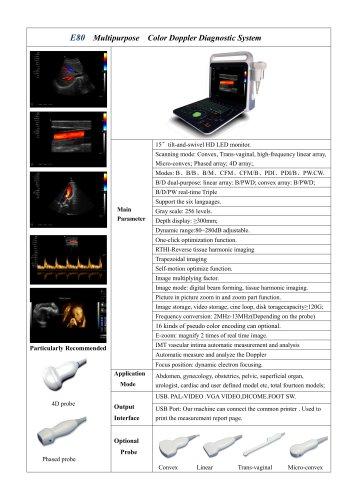 XF3800 (E80)portable color doppler for Human
